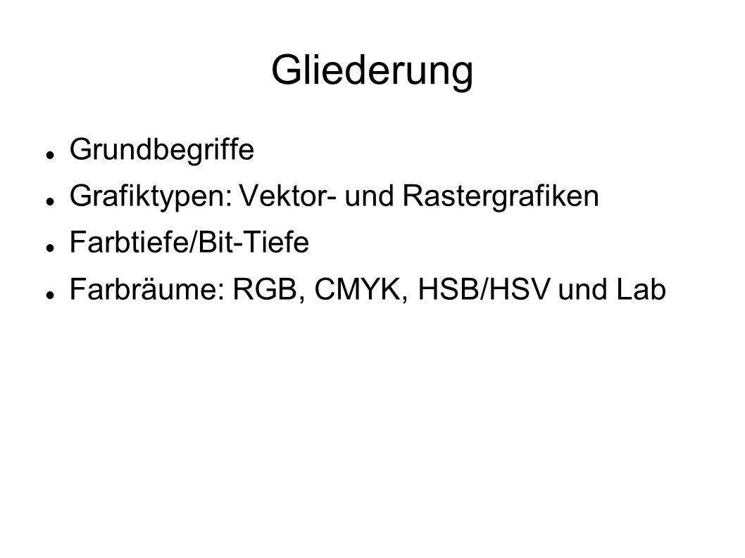 Gliederung Grundbegriffe Grafiktypen: Vektor- und Rastergrafiken Farbtiefe/Bit-Tiefe Farbräume: RGB, CMYK, HSB/HSV und Lab