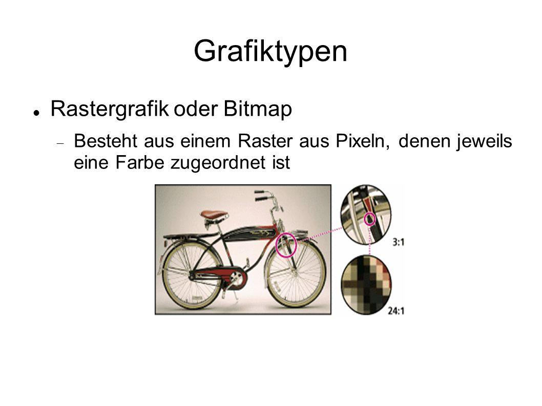 Grafiktypen Rastergrafik oder Bitmap  Besteht aus einem Raster aus Pixeln, denen jeweils eine Farbe zugeordnet ist
