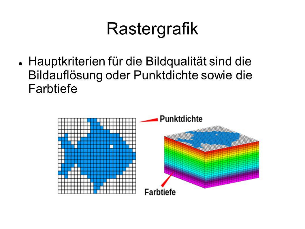 Rastergrafik Hauptkriterien für die Bildqualität sind die Bildauflösung oder Punktdichte sowie die Farbtiefe