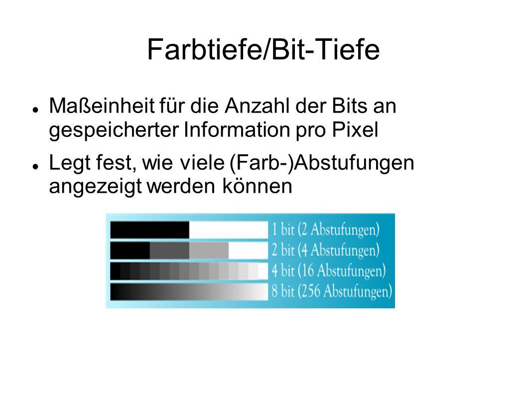 Farbtiefe/Bit-Tiefe Maßeinheit für die Anzahl der Bits an gespeicherter Information pro Pixel Legt fest, wie viele (Farb-)Abstufungen angezeigt werden können