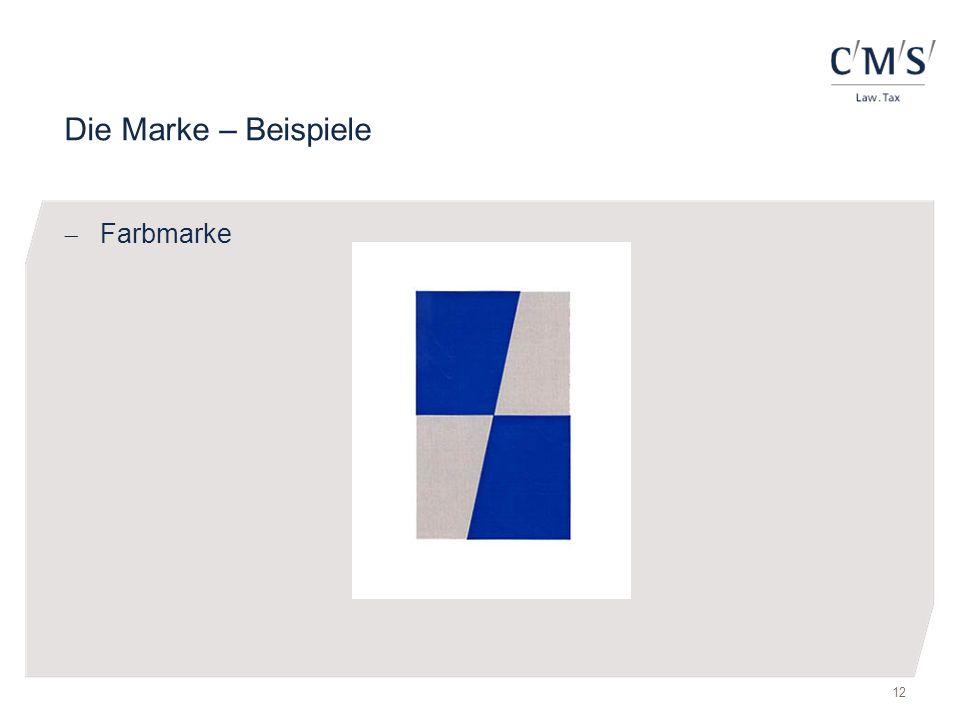 Die Marke – Beispiele  Farbmarke 12
