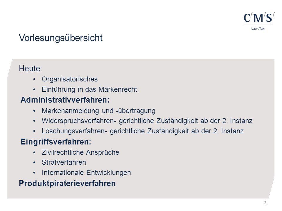 Vorlesungsübersicht Heute: Organisatorisches Einführung in das Markenrecht Administrativverfahren: Markenanmeldung und -übertragung Widerspruchsverfah