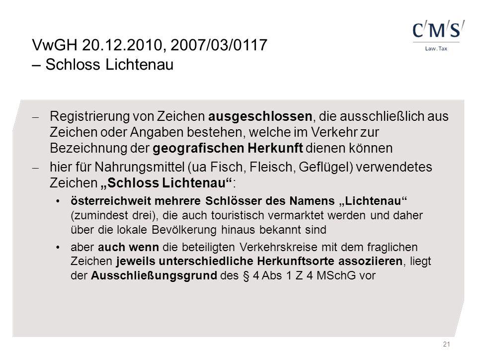 VwGH 20.12.2010, 2007/03/0117 – Schloss Lichtenau  Registrierung von Zeichen ausgeschlossen, die ausschließlich aus Zeichen oder Angaben bestehen, we