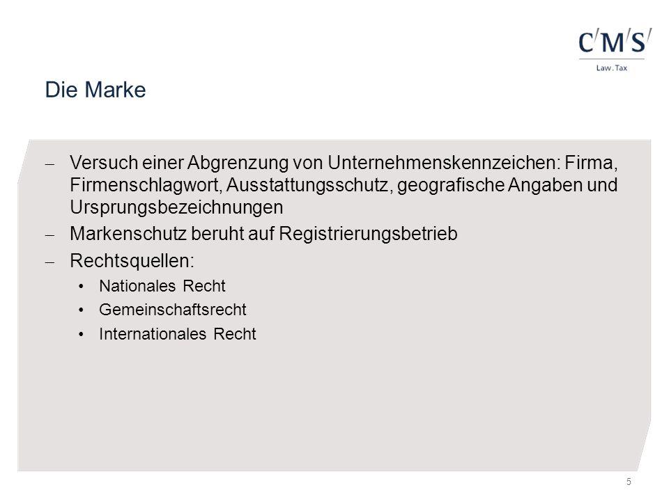 Die Marke  Versuch einer Abgrenzung von Unternehmenskennzeichen: Firma, Firmenschlagwort, Ausstattungsschutz, geografische Angaben und Ursprungsbezei
