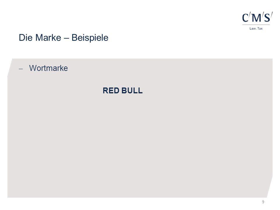 Die Marke – Beispiele  Wortmarke RED BULL 9