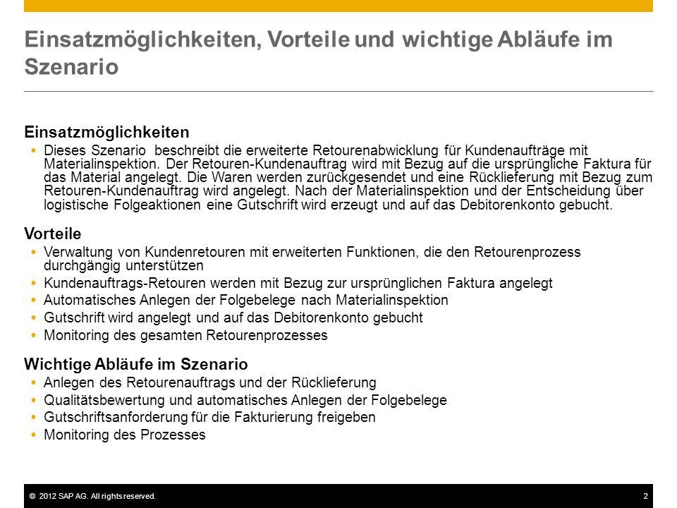 ©2012 SAP AG. All rights reserved.2 Einsatzmöglichkeiten, Vorteile und wichtige Abläufe im Szenario Einsatzmöglichkeiten  Dieses Szenario beschreibt