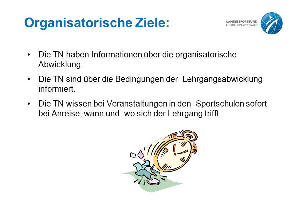 Organisatorische Ziele: Die TN haben Informationen über die organisatorische Abwicklung.