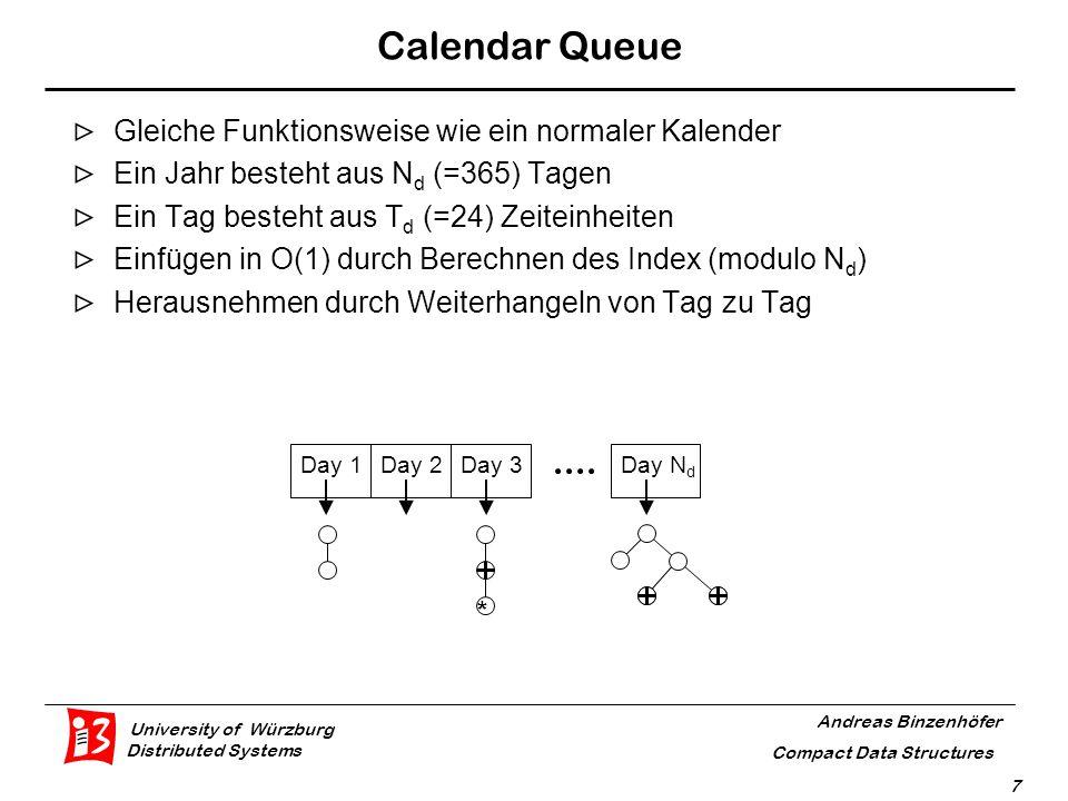 University of Würzburg Distributed Systems Andreas Binzenhöfer Compact Data Structures 8 Calendar Queue: Probleme Zu viele Tage: Dequeue Operation nicht mehr in O(1) Zu lange Tage:Enqueue Operation nicht mehr in O(1)
