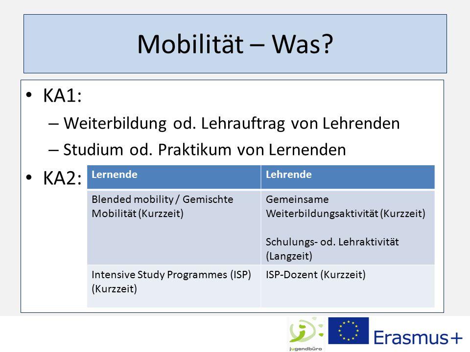 Mobilität – Was. KA1: – Weiterbildung od. Lehrauftrag von Lehrenden – Studium od.