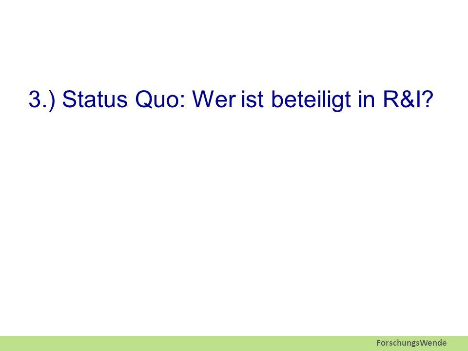 ForschungsWende 3.) Status Quo: Wer ist beteiligt in R&I