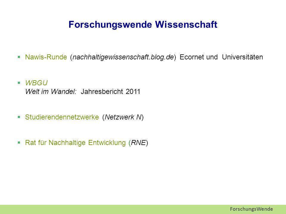 ForschungsWende Forschungswende Wissenschaft  Nawis-Runde (nachhaltigewissenschaft.blog.de) Ecornet und Universitäten  WBGU Welt im Wandel: Jahresbericht 2011  Studierendennetzwerke (Netzwerk N)  Rat für Nachhaltige Entwicklung (RNE)