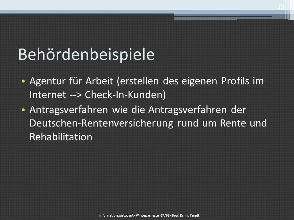 Behördenbeispiele Agentur für Arbeit (erstellen des eigenen Profils im Internet --> Check-In-Kunden) Antragsverfahren wie die Antragsverfahren der Deu