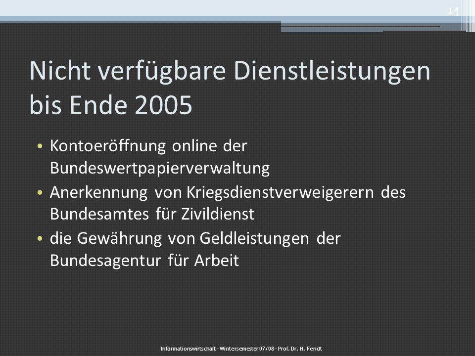 Nicht verfügbare Dienstleistungen bis Ende 2005 Kontoeröffnung online der Bundeswertpapierverwaltung Anerkennung von Kriegsdienstverweigerern des Bund