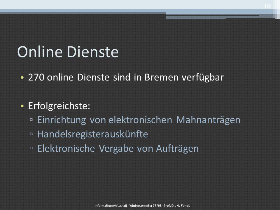 Online Dienste 270 online Dienste sind in Bremen verfügbar Erfolgreichste: ▫ Einrichtung von elektronischen Mahnanträgen ▫ Handelsregisterauskünfte ▫