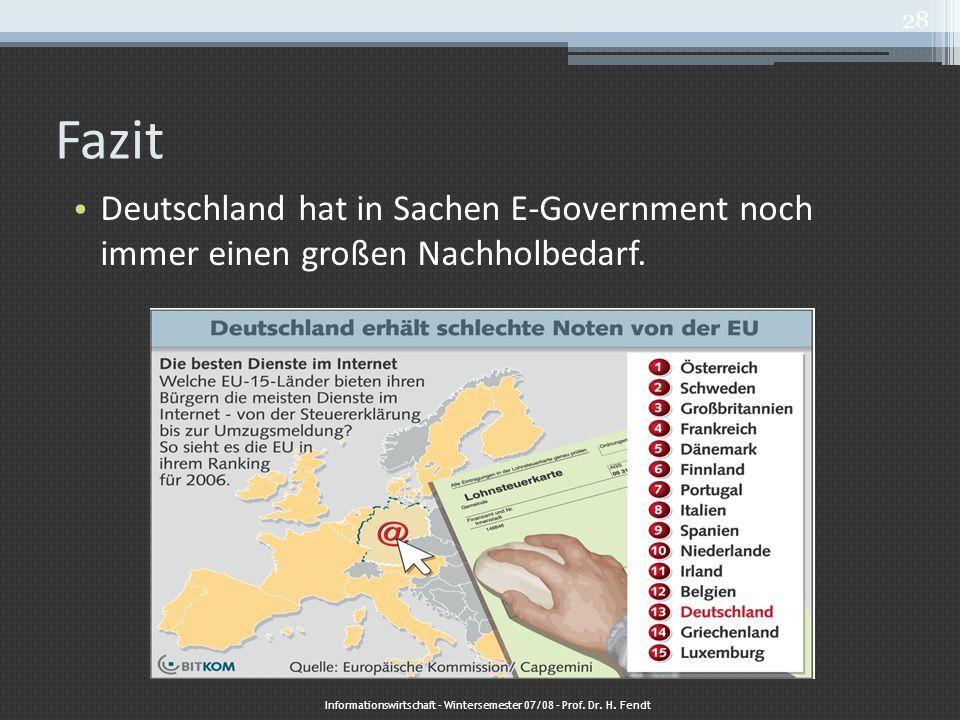 Fazit Deutschland hat in Sachen E-Government noch immer einen großen Nachholbedarf. Informationswirtschaft – Wintersemester 07/08 – Prof. Dr. H. Fendt