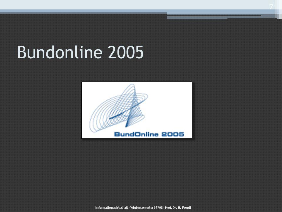 Gestartet auf der Expo 2000 Bis Ende 2005 sollten alle onlinefähigen Dienstleistungen der Bundesverwaltung über das Internet verfügbar sein Informationswirtschaft – Wintersemester 07/08 – Prof.