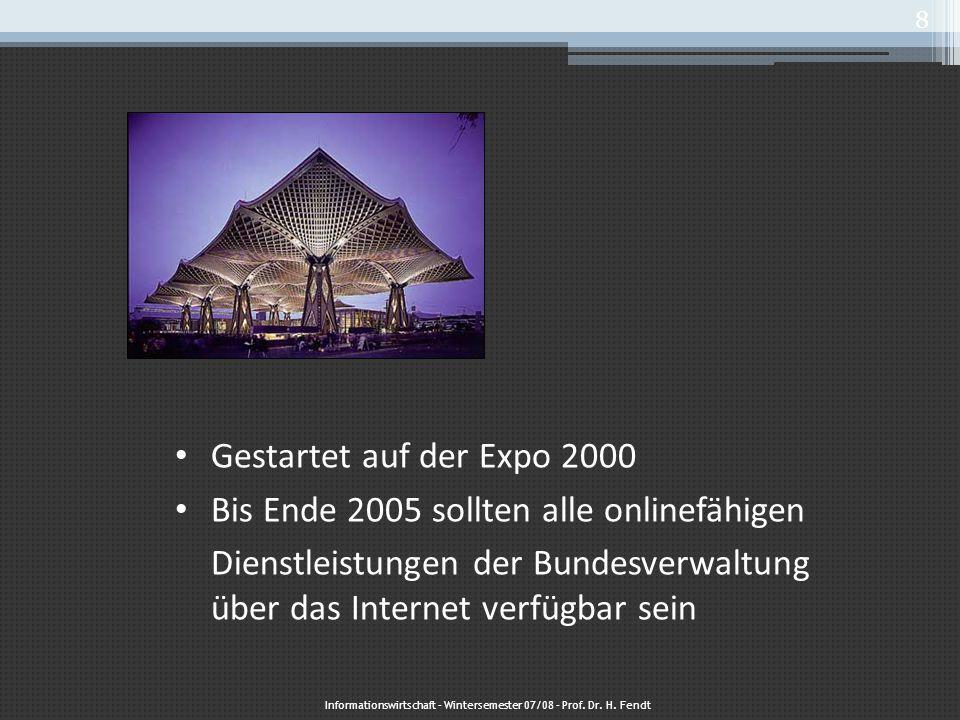 Online Dienste 270 online Dienste sind in Bremen verfügbar Erfolgreichste: ▫ Einrichtung von elektronischen Mahnanträgen ▫ Handelsregisterauskünfte ▫ Elektronische Vergabe von Aufträgen Informationswirtschaft – Wintersemester 07/08 – Prof.