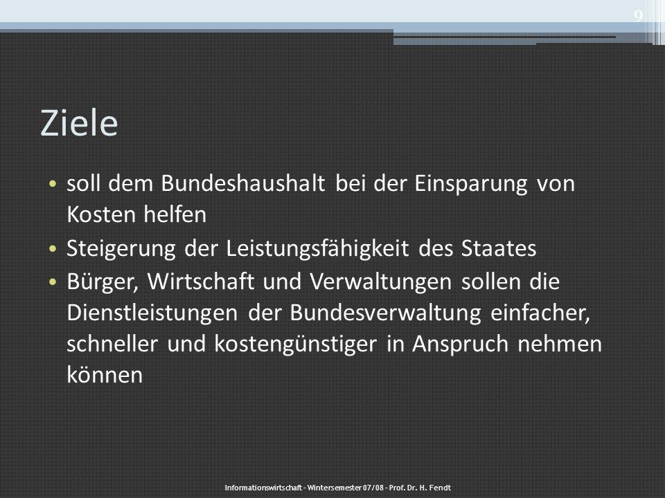 Zentrale Koordination – dezentrale Umsetzung Informationswirtschaft – Wintersemester 07/08 – Prof.