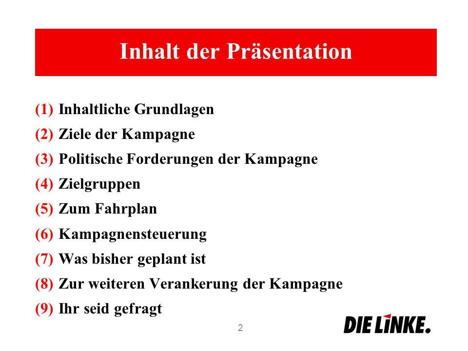Inhalt der Präsentation (1)Inhaltliche Grundlagen (2)Ziele der Kampagne (3)Politische Forderungen der Kampagne (4)Zielgruppen (5)Zum Fahrplan (6)Kampa