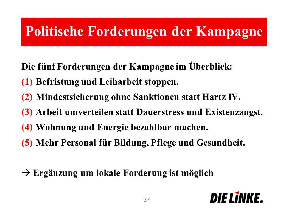 Politische Forderungen der Kampagne Die fünf Forderungen der Kampagne im Überblick: (1)Befristung und Leiharbeit stoppen. (2)Mindestsicherung ohne San