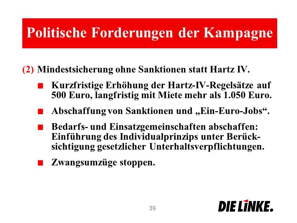 Politische Forderungen der Kampagne (2)Mindestsicherung ohne Sanktionen statt Hartz IV. Kurzfristige Erhöhung der Hartz-IV-Regelsätze auf 500 Euro, la