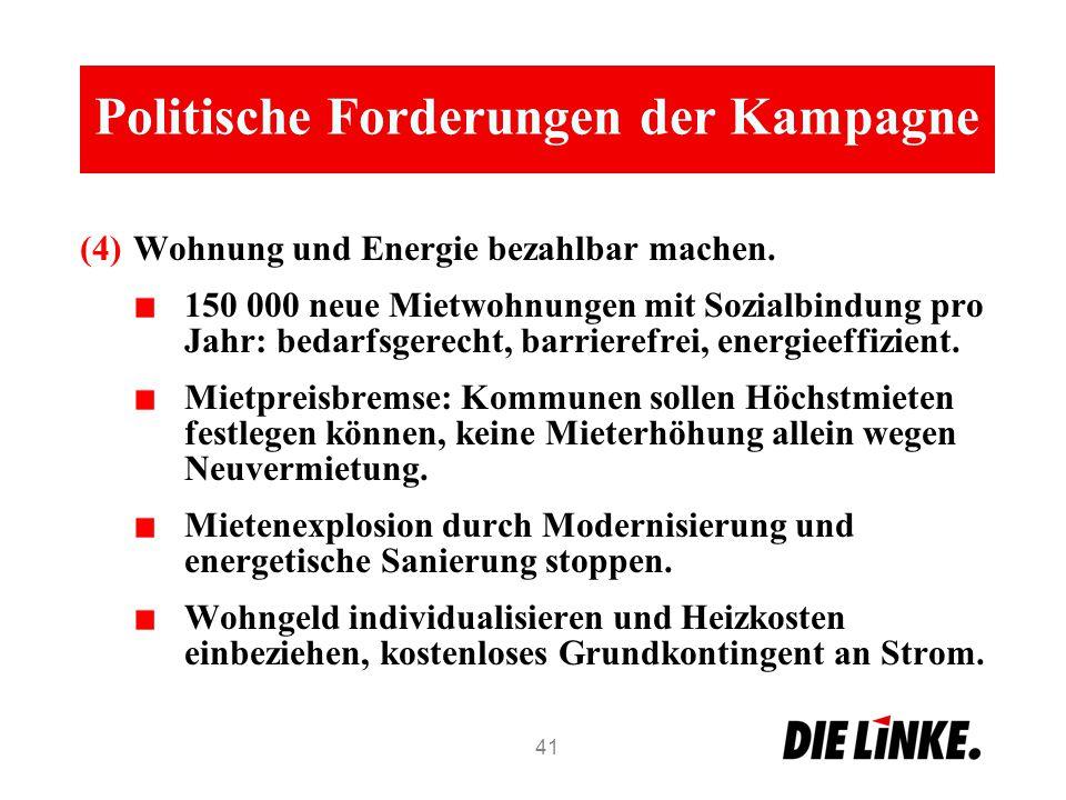 Politische Forderungen der Kampagne (4)Wohnung und Energie bezahlbar machen.