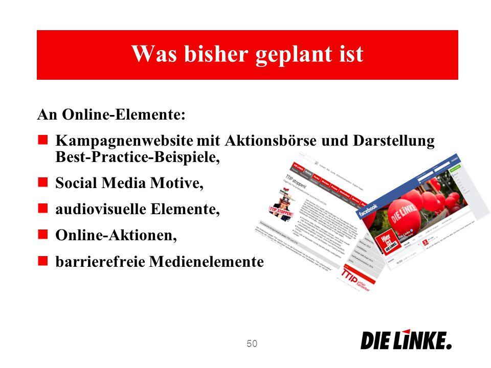 Was bisher geplant ist An Online-Elemente: Kampagnenwebsite mit Aktionsbörse und Darstellung Best-Practice-Beispiele, Social Media Motive, audiovisuel