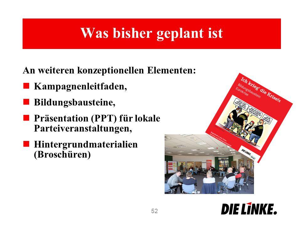 Was bisher geplant ist An weiteren konzeptionellen Elementen: Kampagnenleitfaden, Bildungsbausteine, Präsentation (PPT) für lokale Parteiveranstaltung