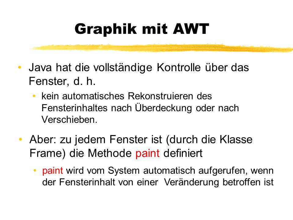 Graphik mit AWT Java hat die vollständige Kontrolle über das Fenster, d. h. kein automatisches Rekonstruieren des Fensterinhaltes nach Überdeckung ode