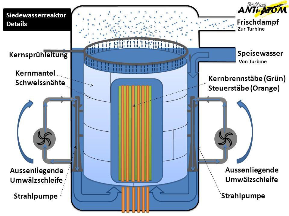 Frischdampf Speisewasser Zur Turbine Von Turbine Aussenliegende Umwälzschleife Aussenliegende Umwälzschleife Strahlpumpe Kernsprühleitung Siedewasserr