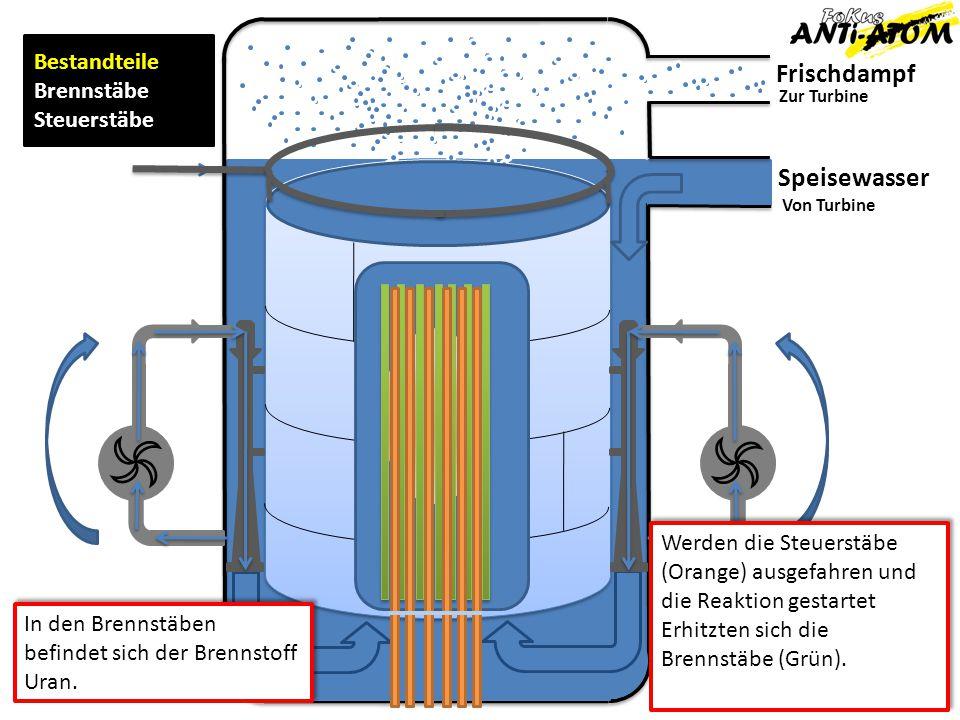 Frischdampf Speisewasser Zur Turbine Von Turbine Bestandteile Brennstäbe Steuerstäbe Werden die Steuerstäbe (Orange) ausgefahren und die Reaktion gest