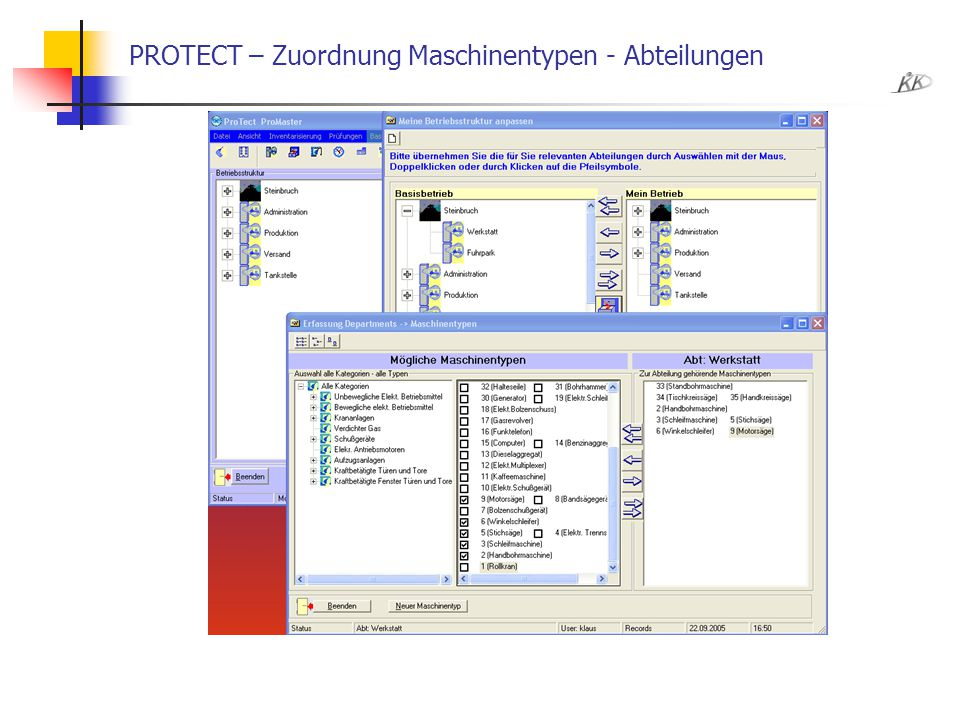 PROTECT – Zuordnung Maschinentypen - Abteilungen