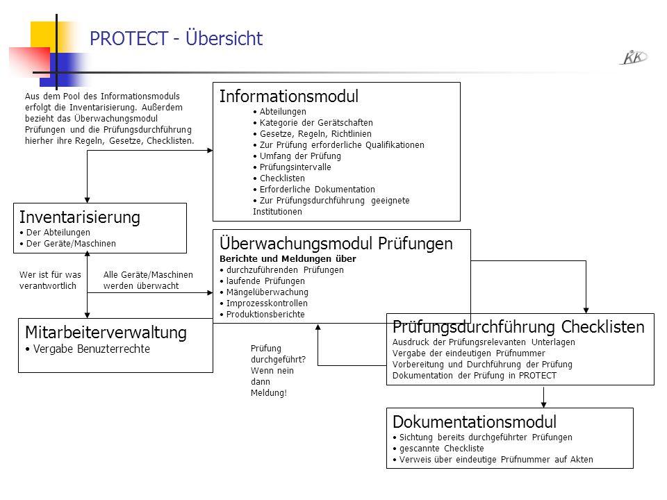 PROTECT - Übersicht Informationsmodul Abteilungen Kategorie der Gerätschaften Gesetze, Regeln, Richtlinien Zur Prüfung erforderliche Qualifikationen U