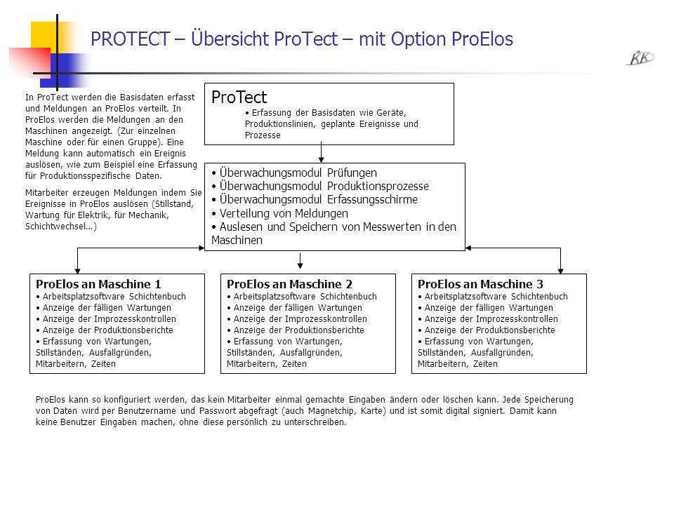PROTECT – Übersicht ProTect – mit Option ProElos ProTect Erfassung der Basisdaten wie Geräte, Produktionslinien, geplante Ereignisse und Prozesse ProE