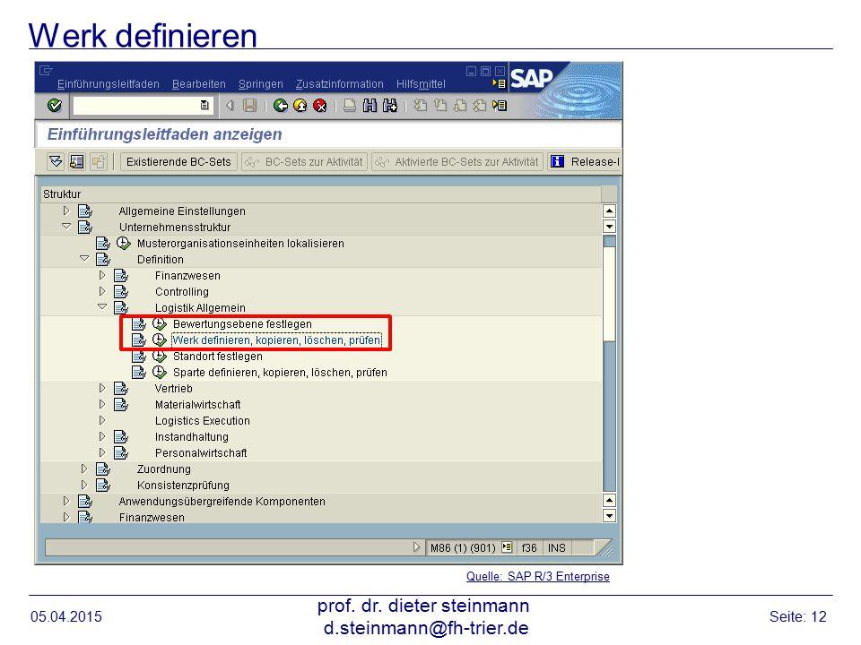 Werk definieren 05.04.2015 prof. dr. dieter steinmann d.steinmann@fh-trier.de Seite: 12 Quelle: SAP R/3 Enterprise