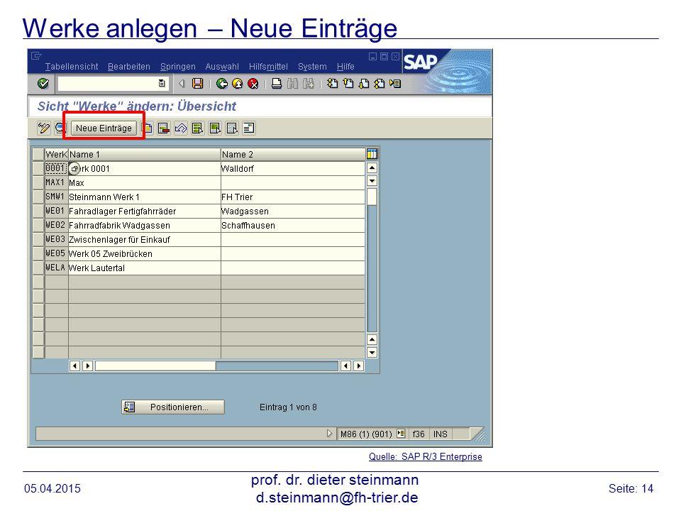Werke anlegen – Neue Einträge 05.04.2015 prof. dr. dieter steinmann d.steinmann@fh-trier.de Seite: 14 Quelle: SAP R/3 Enterprise