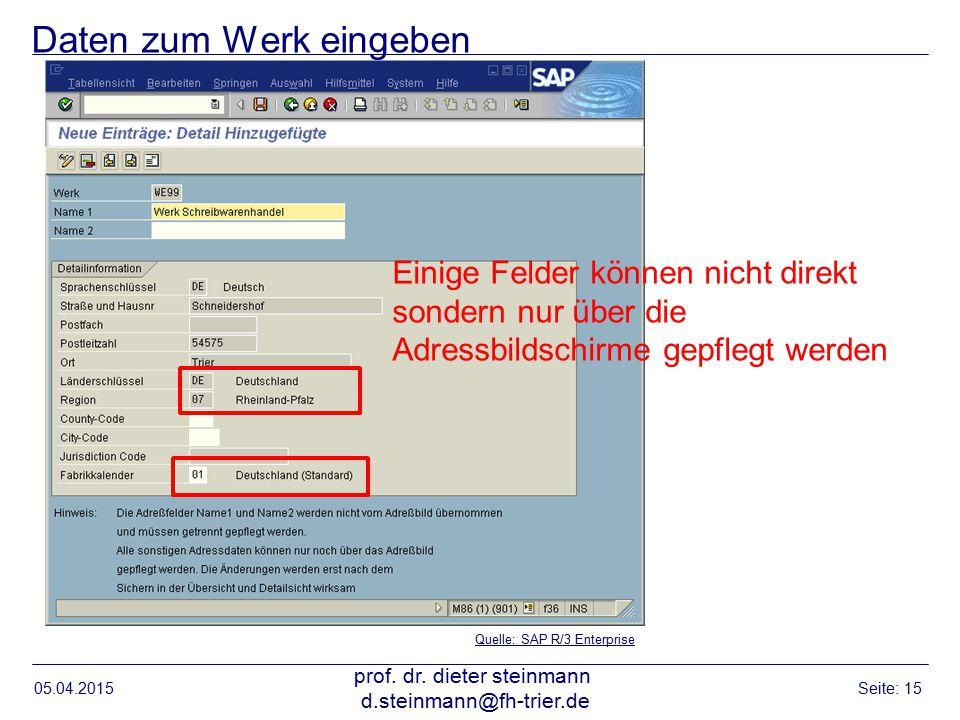 Daten zum Werk eingeben 05.04.2015 prof. dr. dieter steinmann d.steinmann@fh-trier.de Seite: 15 Quelle: SAP R/3 Enterprise Einige Felder können nicht