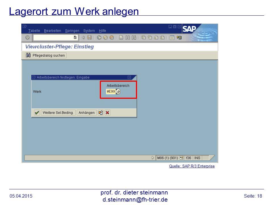 Lagerort zum Werk anlegen 05.04.2015 prof. dr. dieter steinmann d.steinmann@fh-trier.de Seite: 18 Quelle: SAP R/3 Enterprise
