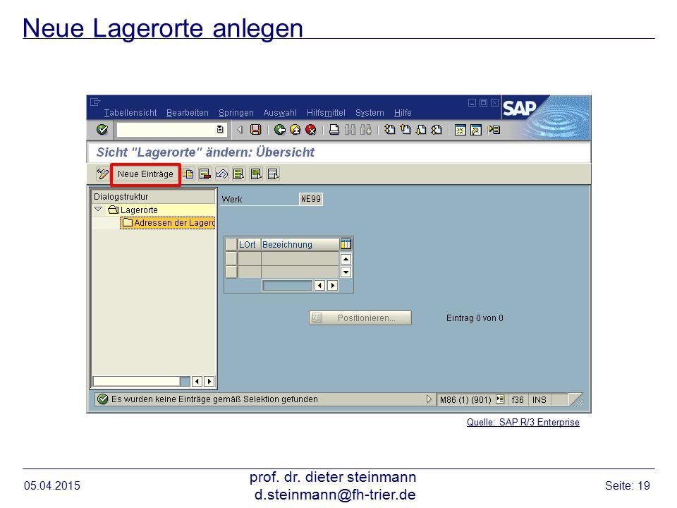 Neue Lagerorte anlegen 05.04.2015 prof. dr. dieter steinmann d.steinmann@fh-trier.de Seite: 19 Quelle: SAP R/3 Enterprise