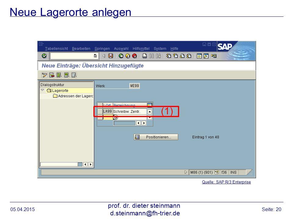 Neue Lagerorte anlegen 05.04.2015 prof. dr. dieter steinmann d.steinmann@fh-trier.de Seite: 20 Quelle: SAP R/3 Enterprise (1)