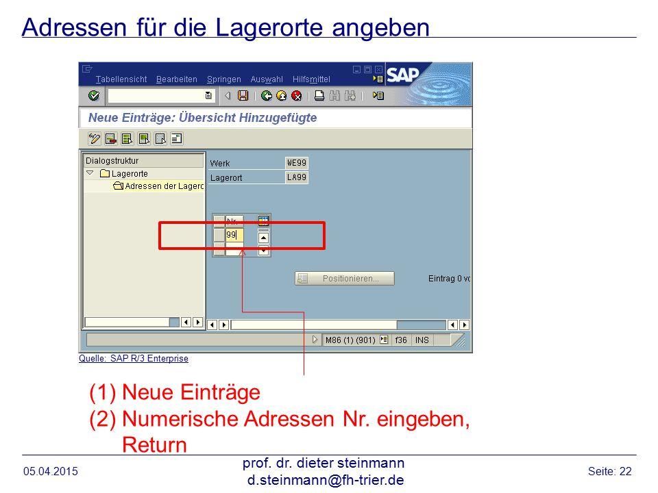 Adressen für die Lagerorte angeben 05.04.2015 prof. dr. dieter steinmann d.steinmann@fh-trier.de Seite: 22 Quelle: SAP R/3 Enterprise (1)Neue Einträge