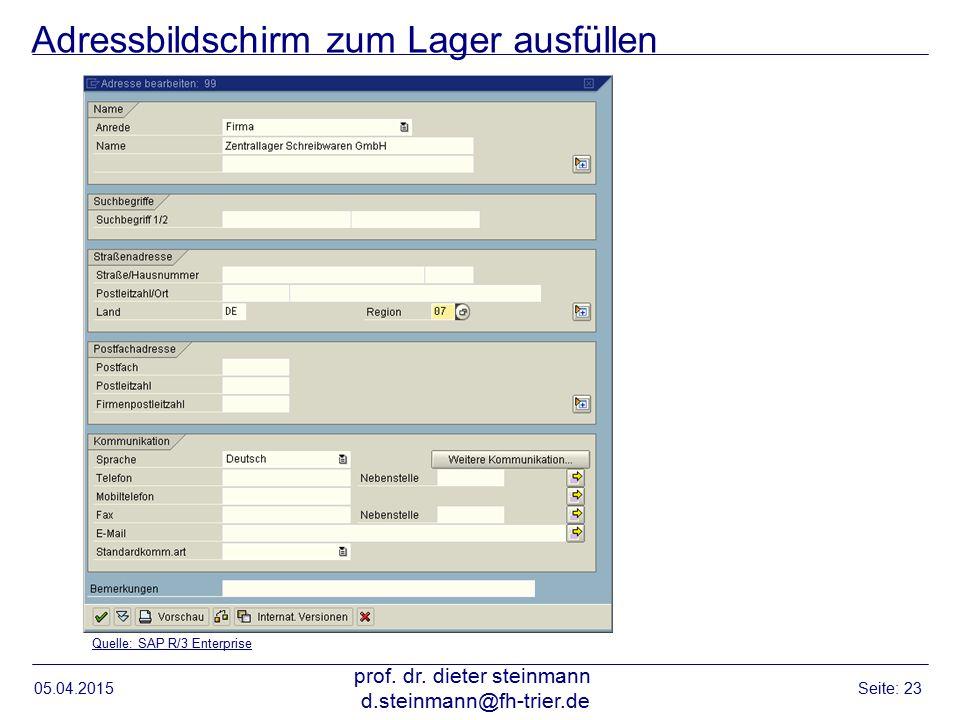 Adressbildschirm zum Lager ausfüllen 05.04.2015 prof. dr. dieter steinmann d.steinmann@fh-trier.de Seite: 23 Quelle: SAP R/3 Enterprise