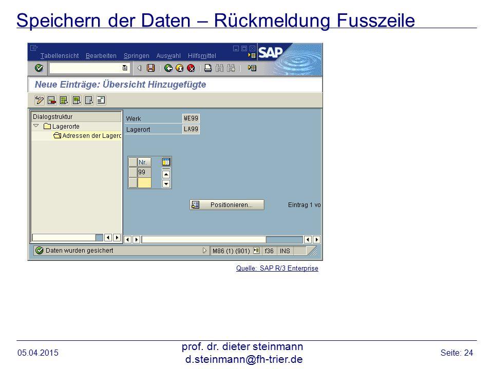 Speichern der Daten – Rückmeldung Fusszeile 05.04.2015 prof. dr. dieter steinmann d.steinmann@fh-trier.de Seite: 24 Quelle: SAP R/3 Enterprise