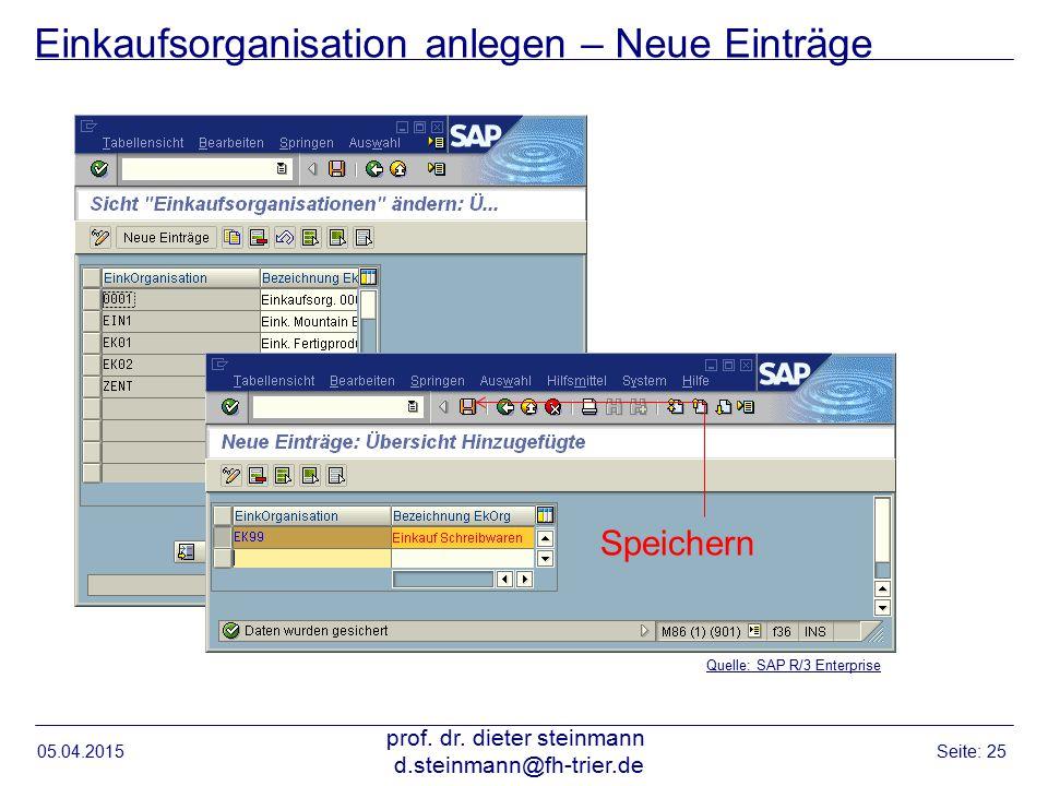 Einkaufsorganisation anlegen – Neue Einträge 05.04.2015 prof. dr. dieter steinmann d.steinmann@fh-trier.de Seite: 25 Quelle: SAP R/3 Enterprise Speich