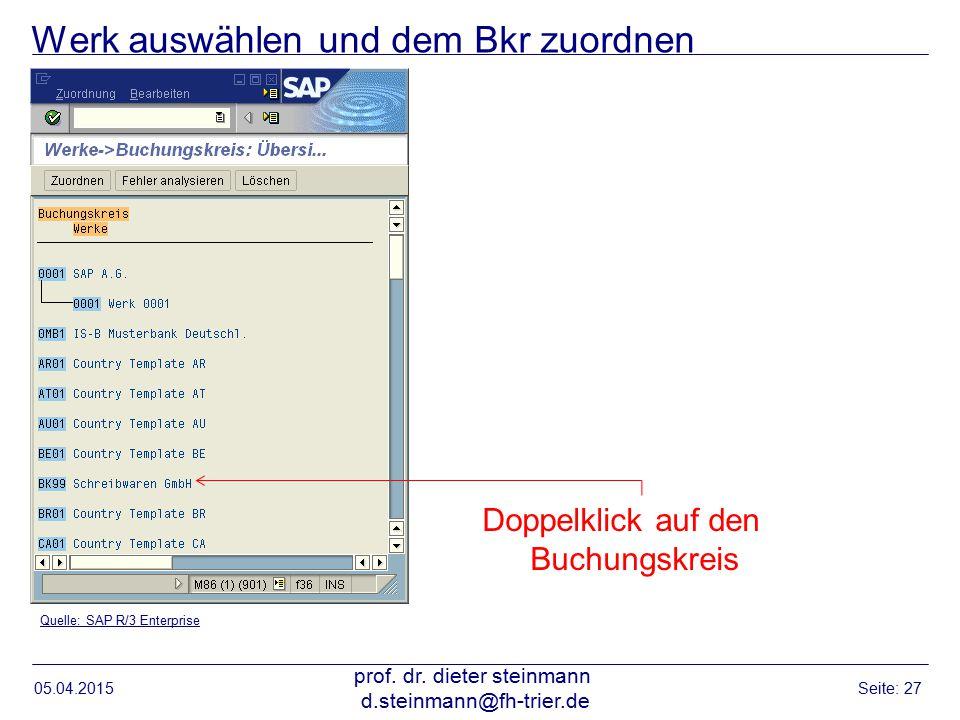 Werk auswählen und dem Bkr zuordnen 05.04.2015 prof. dr. dieter steinmann d.steinmann@fh-trier.de Seite: 27 Quelle: SAP R/3 Enterprise Doppelklick auf