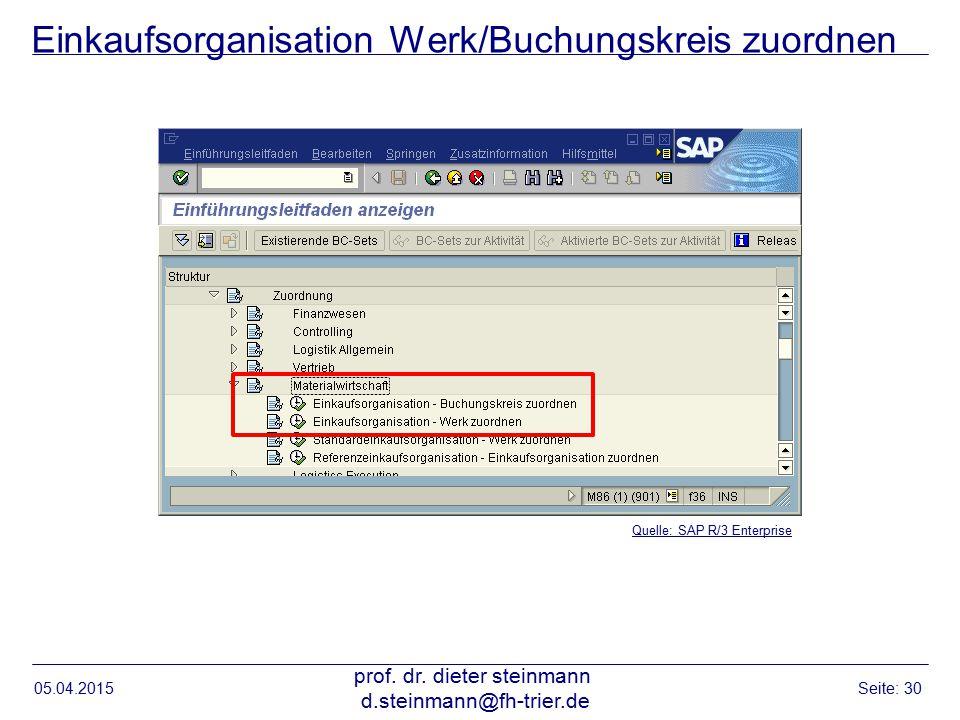 Einkaufsorganisation Werk/Buchungskreis zuordnen 05.04.2015 prof. dr. dieter steinmann d.steinmann@fh-trier.de Seite: 30 Quelle: SAP R/3 Enterprise