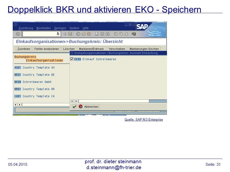 Doppelklick BKR und aktivieren EKO - Speichern 05.04.2015 prof. dr. dieter steinmann d.steinmann@fh-trier.de Seite: 31 Quelle: SAP R/3 Enterprise