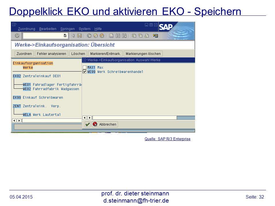 Doppelklick EKO und aktivieren EKO - Speichern 05.04.2015 prof. dr. dieter steinmann d.steinmann@fh-trier.de Seite: 32 Quelle: SAP R/3 Enterprise