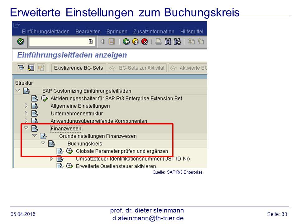 Erweiterte Einstellungen zum Buchungskreis 05.04.2015 prof. dr. dieter steinmann d.steinmann@fh-trier.de Seite: 33 Quelle: SAP R/3 Enterprise