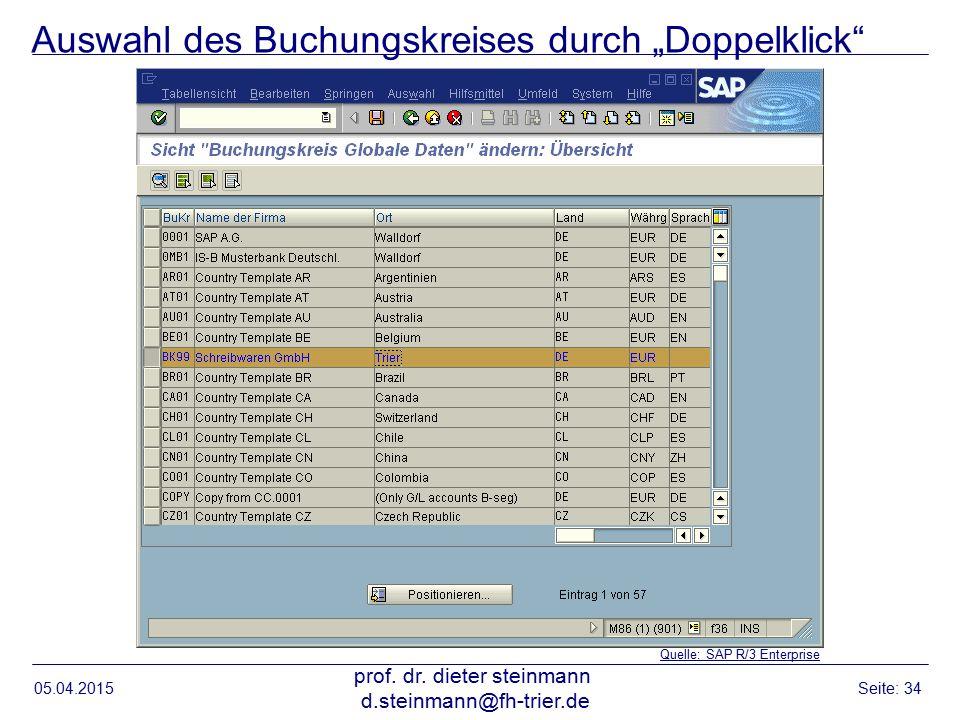 """Auswahl des Buchungskreises durch """"Doppelklick"""" 05.04.2015 prof. dr. dieter steinmann d.steinmann@fh-trier.de Seite: 34 Quelle: SAP R/3 Enterprise"""